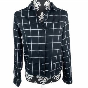 Timing Top Button Down Blouse Black White Collared